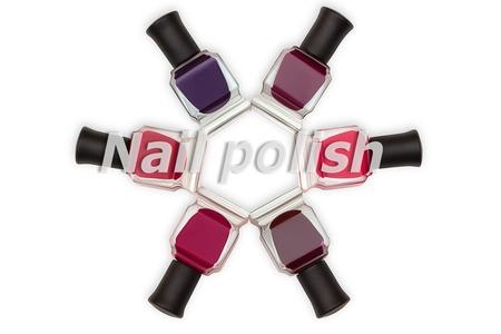 Words nail polish and nail polish bottles on background. Reklamní fotografie