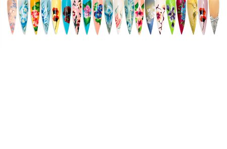 Nail design handmade samples isolated on white background