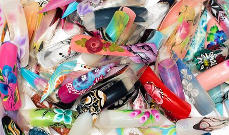 Nail design handmade samples on tips, close up