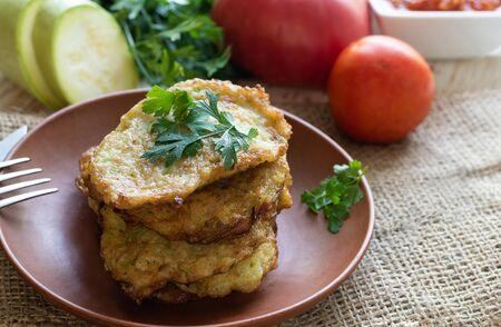 Squash fried fritters. Vegetable vegetarian food