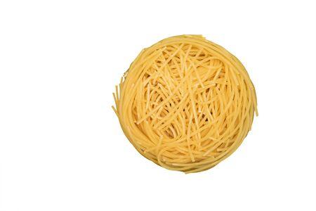 Italian pasta tagliatelle isolated on white background.