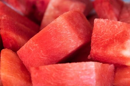 Close-up of fresh slices of red watermelon.