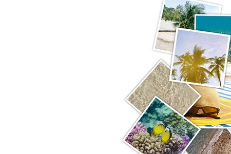 Stack of photos showing Vacation, tropics, sea, summer underwater world