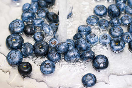 Blueberry in a water. Washing raw berries close up 免版税图像