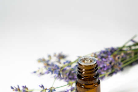 Lavender essential oil in a brown glass bottle with a lavender flowers on white background.