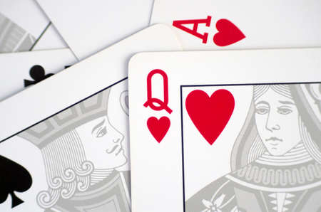 Closeup of classic playing cards with love concept massage. Stock Photo