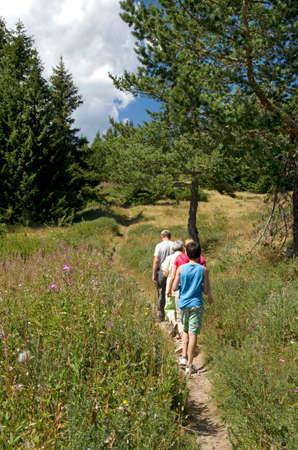 bulgaria girl: Family hiking in Bulgarian Rodopi mountain Stock Photo