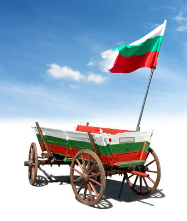 horse cart: Flag of Bulgaria put on a horse cart as a symbol of the country. Isolated image on white and sky background. Stock Photo
