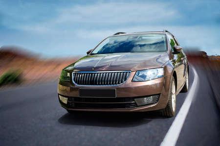 Vagon car on road with motion blur background. Reklamní fotografie