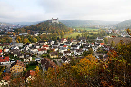during: Eichstatt in autumn, Bavaria, Germany.Panoramic view of the city of Eichstaett during case with Willibald .Typical German city.