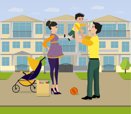 Family walk near their house. Dad, pregnant Mom, little Son are outside of home in their neighborhood Illustration