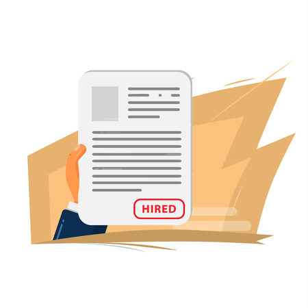 Hand keeps the resume of the employee whom hr hired to work Illustration
