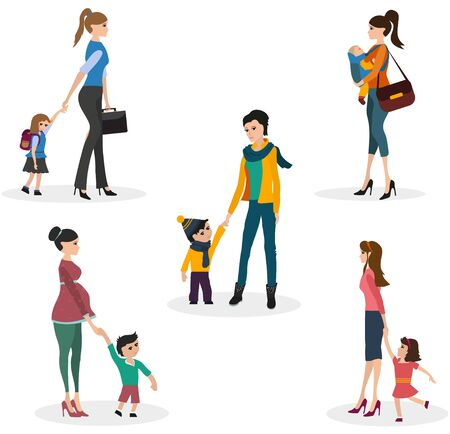 Isolate set of moms with children. Mom leads the child to school, mom holds the baby by the hand, the mother carries the baby in the carrying, Pregnant woman walks with baby