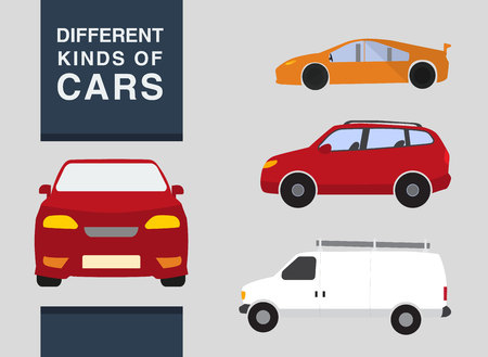 Three types of cars: a crossover sports car and a truck (van). Front and Side veiw