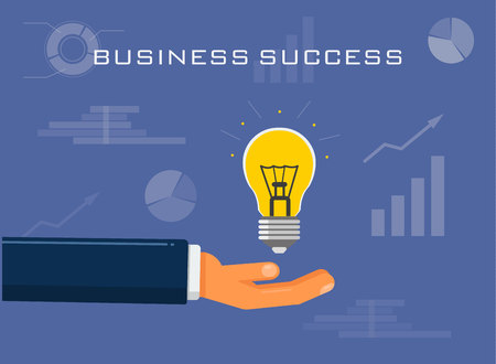 Hand stretches a light bulb. Concept illustration of Successful business solution. On the background, growth and profit graphs. Infographic