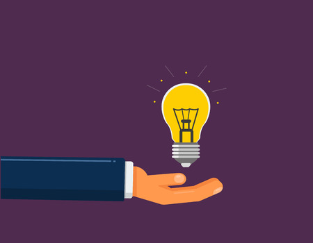 Hand holds the light bulb. Idea suggestion concept on purple background Illustration