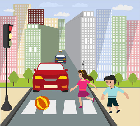Children play ball on the roadway.