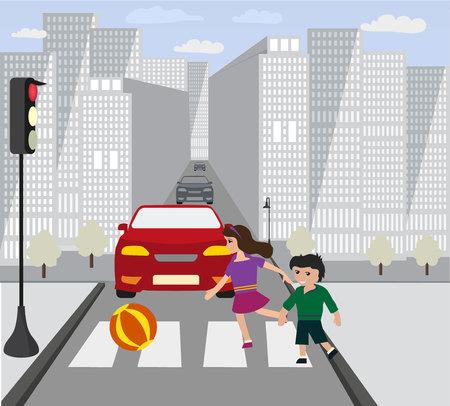 hildren ran on road, when was red traffic light. Illustration
