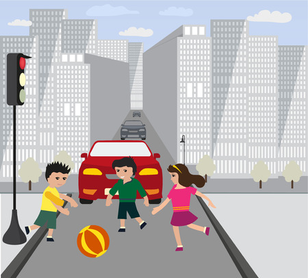 Children play on road while traffic light is red