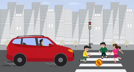 Kids crossing road with red car on red traffic light.