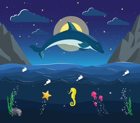 Night seascape with the underwater world in the ocean. Dolphin jumps out of the water on the background of moon and stars. Jellyfish starfish swim under water. Used for children illustration Illustration