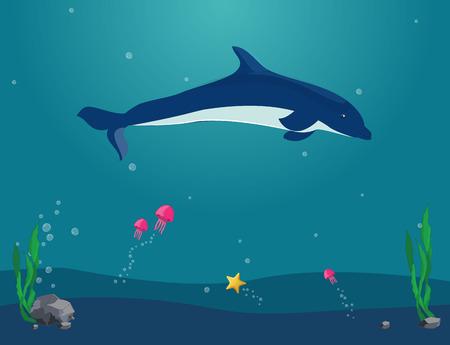 Paesaggio di vettore subacqueo. I delfini nuotano sott'acqua