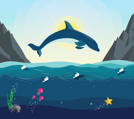 Sea vector landscape. The dolphin jumps out of the water on the background of sunset or sunrise. Seascape with the underwater world in the ocean. Jellyfish starfish swim under water