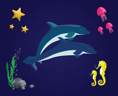 Sea vector set. Dolphin, jellyfish, sea horse, starfish, seaweed and stones in the underwater in the ocean. elements can be used for children illustrations or computer games