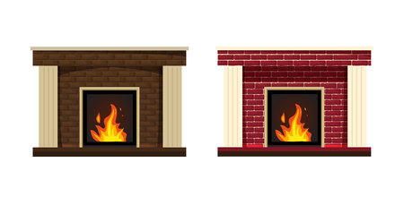 Set of two classic fireplace with red and brown brick inside. The element of the interior living room. Vector isolated illustration. Comfortable, cozy, warm, home fireplace. Warm winter christmas interior bonfire.