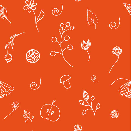 Autumn seamless background for packaging or fabric. Berries flowers fruits hand-drawn