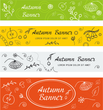 Set of autumn and spring banners. Berries flowers and fruits hand-drawn Illustration