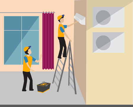 Two workers repairing the air conditioner in the apartment. professionals work with equipment Illustration