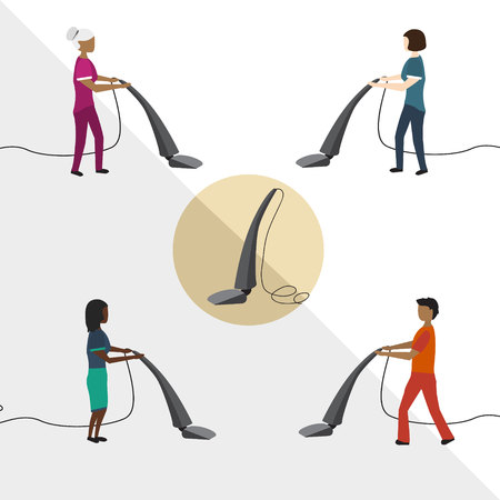 People with a vacuum cleaner Men and women from the cleaning service Cleaner with Vacuuming in your area Illustration