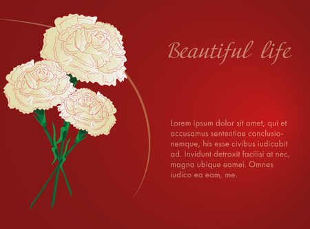 white carnations on red background. Wedding card. Invitation card, eps 10