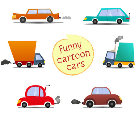 Set cartoon cars. Funny cartoon cars with side view. Can use in cartoon, game, poster banners