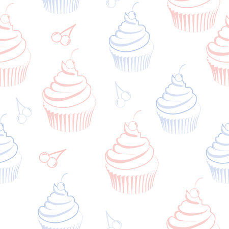 seamless pattern with cupcake in pastel colors on a white background