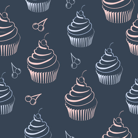 seamless pattern with cupcake in pastel colors on dark blue background Illustration