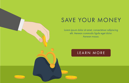 Financial banner with hand putting a coin in a purse
