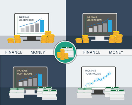 Set of icons chart financial growth and profits Illustration