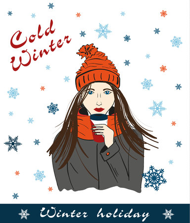 Girl holding a mug with hot coffee