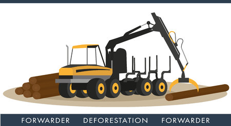 Forwarder to collect logs. Equipment for cutting wood industry