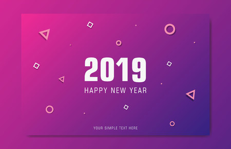 Greeting card for happy new year. Congratulation in 2019 year. Modern style with a pink purple gradient and geometric shapes. Design can be used for flyer, banner or presentation. Vector format