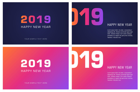 Set of greeting card in minimalist modern design. Happy New Year. 2019 year. Design can be used for flyer, banner or presentation. Vector format