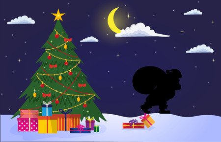 Night christmas landscape. Decorated Christmas tree with gifts outdoor, in the background sneaking santa claus. Used as greeting card, banner or poster for New Year or Merry Christmas