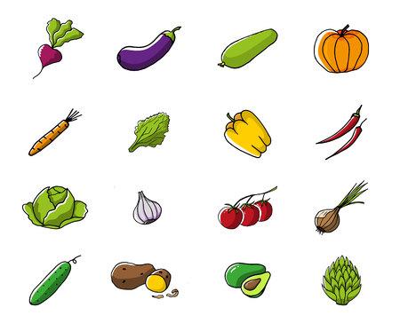 Set of fresh seasonal vegetables.