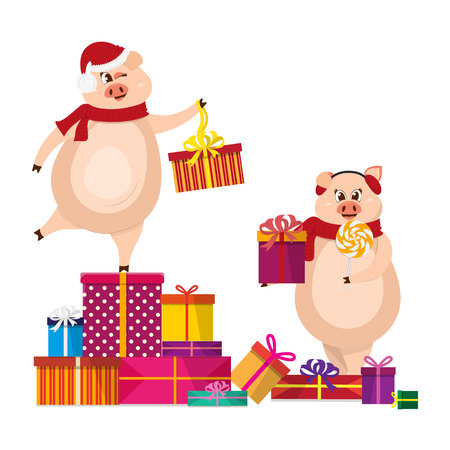 Cute pig character. 2019 New Year symbol