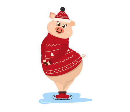 Winter activities sport. Shy pig stands on ice skating in a pullover and headphones. holding a lollipop. Cute pig symbol of 2019. Isolated vector illustration. Illustration