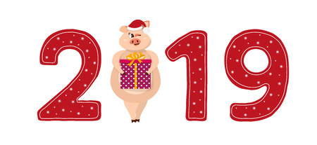 Cute pig character. 2019 New Year symbol