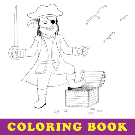 Children coloring book. Pirate stands with treasure chest. Isolated outline vector illustration Illustration