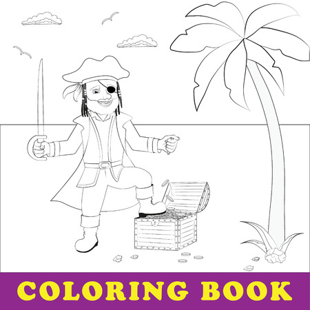 Children coloring book. Pirate stands with treasure chest by the se Illustration